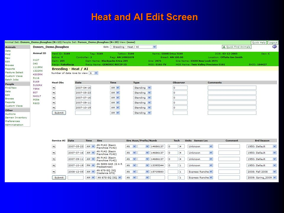 Heat and AI Edit Screen