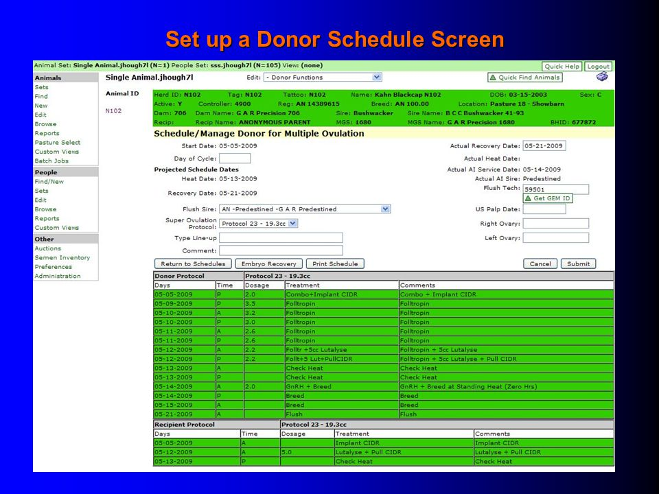 Set up a Donor Schedule Screen