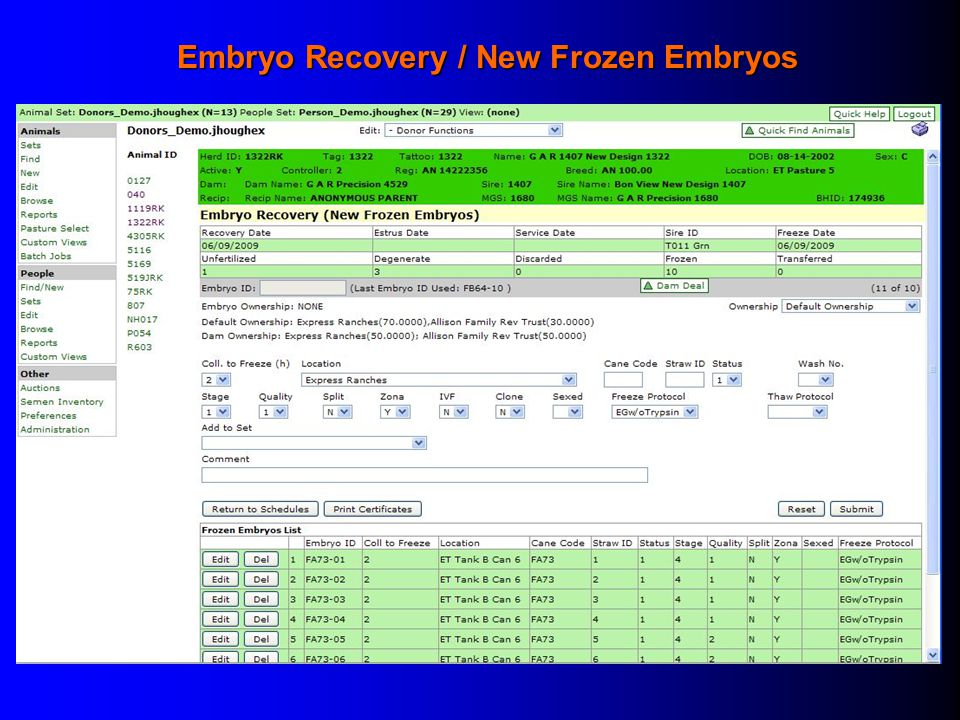 Embryo Recovery / New Frozen Embryos