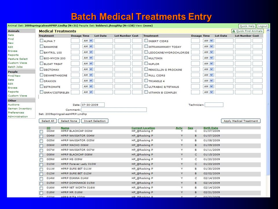 Batch Medical Treatments Entry