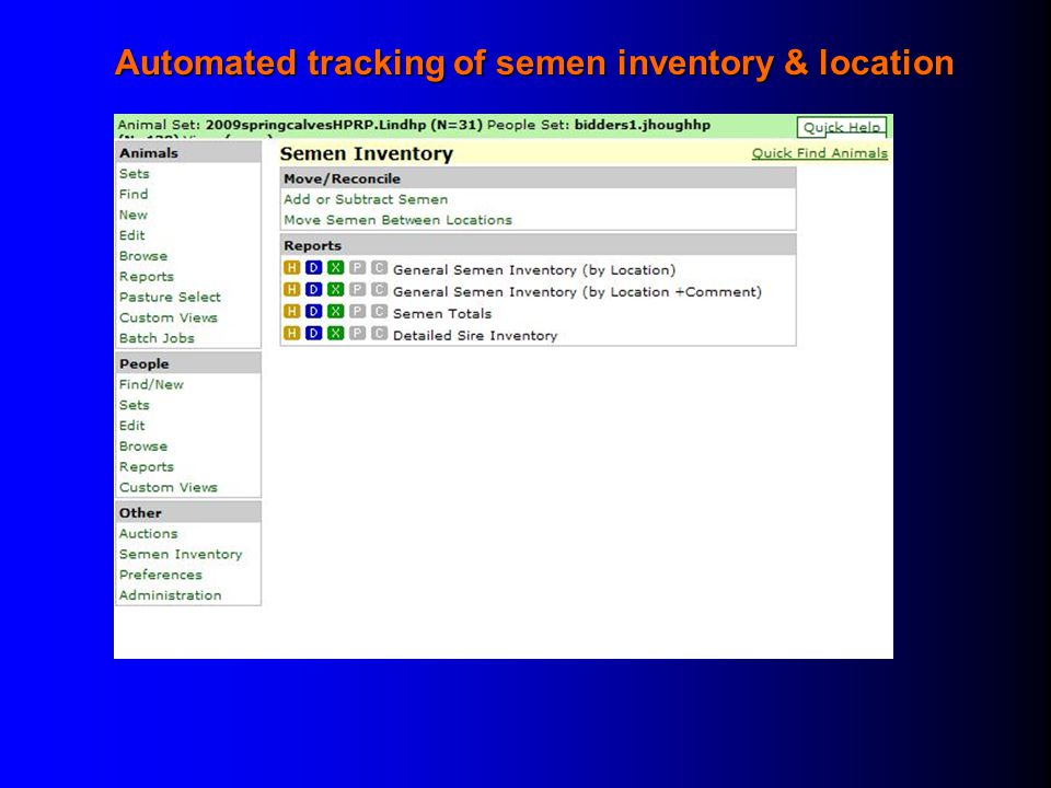 Automated tracking of semen inventory & location