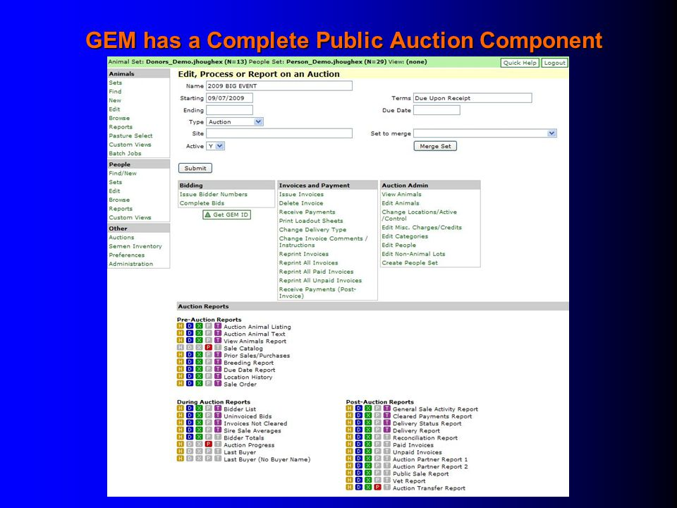 GEM has a Complete Public Auction Component