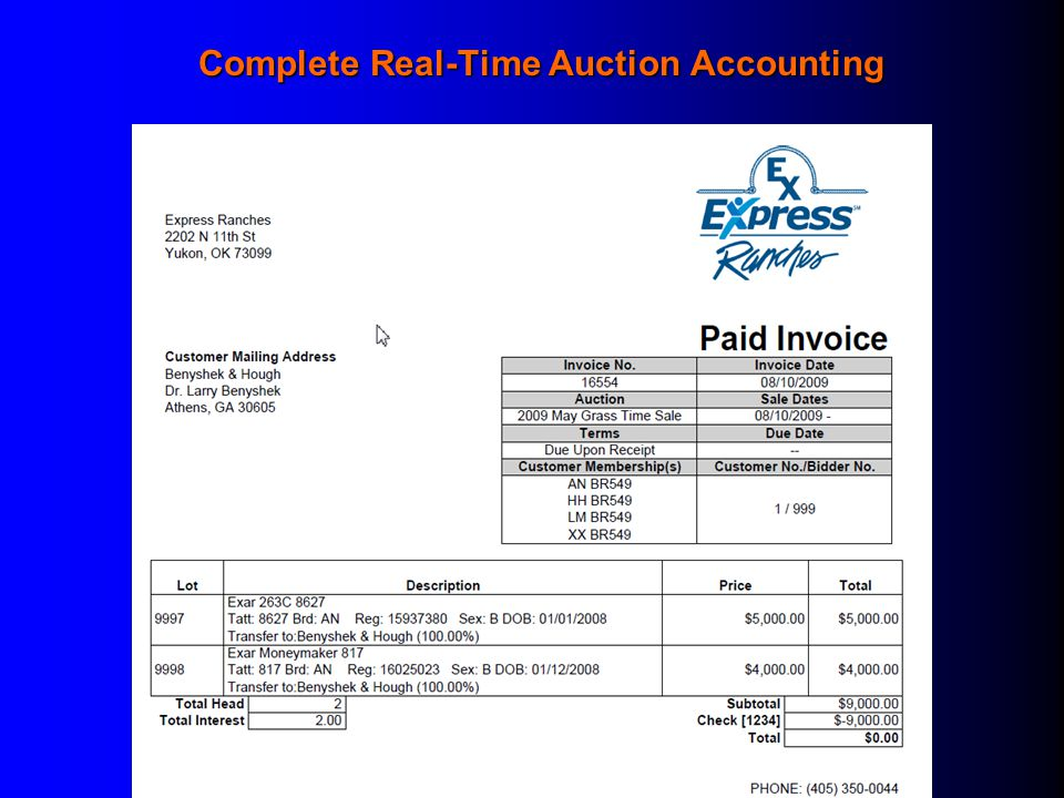 Complete Real-Time Auction Accounting