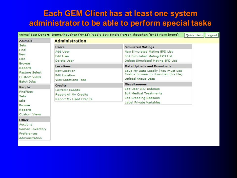 Each GEM Client has at least one system administrator to be able to perform special tasks