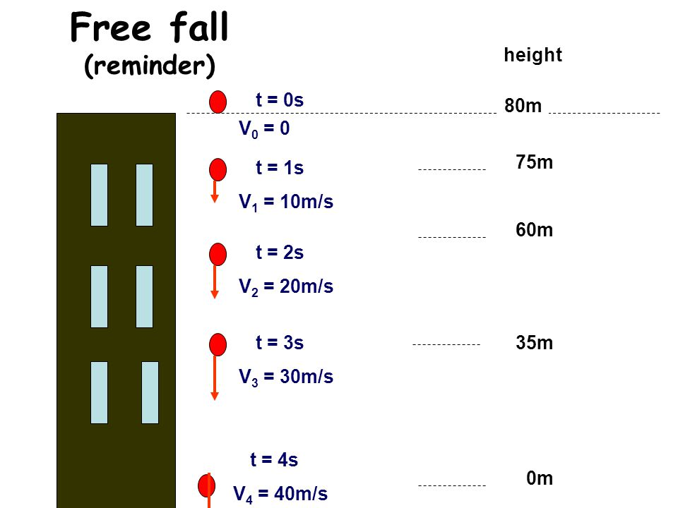 Free fall (reminder) height t = 0s 80m V0 = 0 75m t = 1s V1 = 10m/s