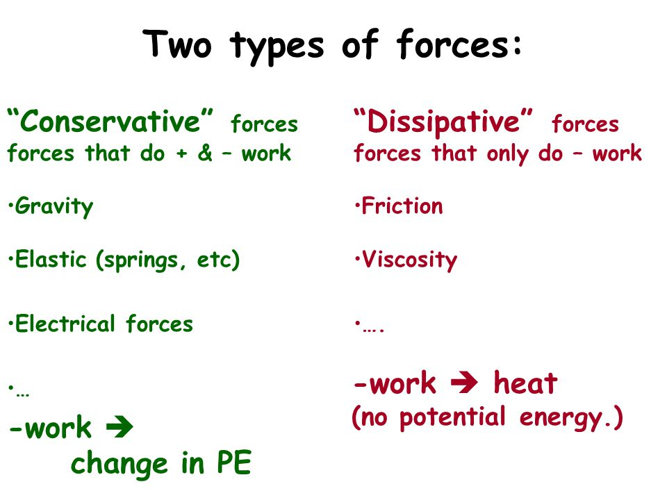 Two types of forces: Conservative forces Dissipative forces