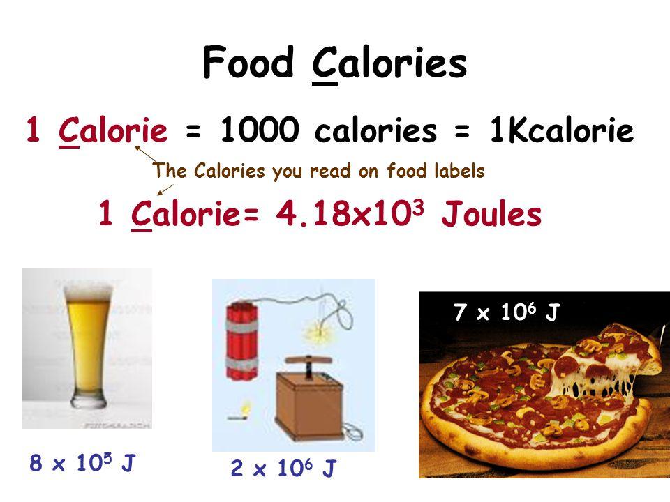 Food Calories 1 Calorie = 1000 calories = 1Kcalorie