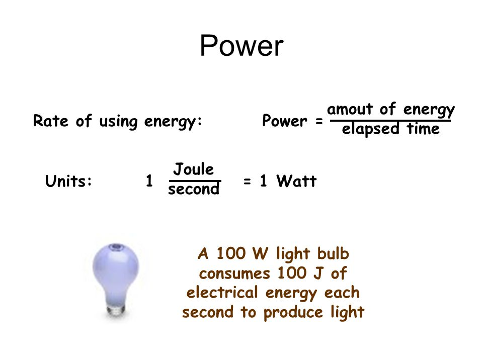 electrical energy each second to produce light