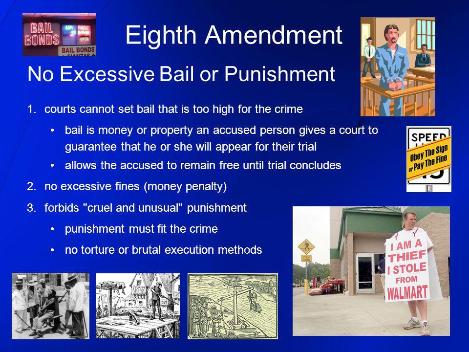 Eighth Amendment No Excessive Bail or Punishment