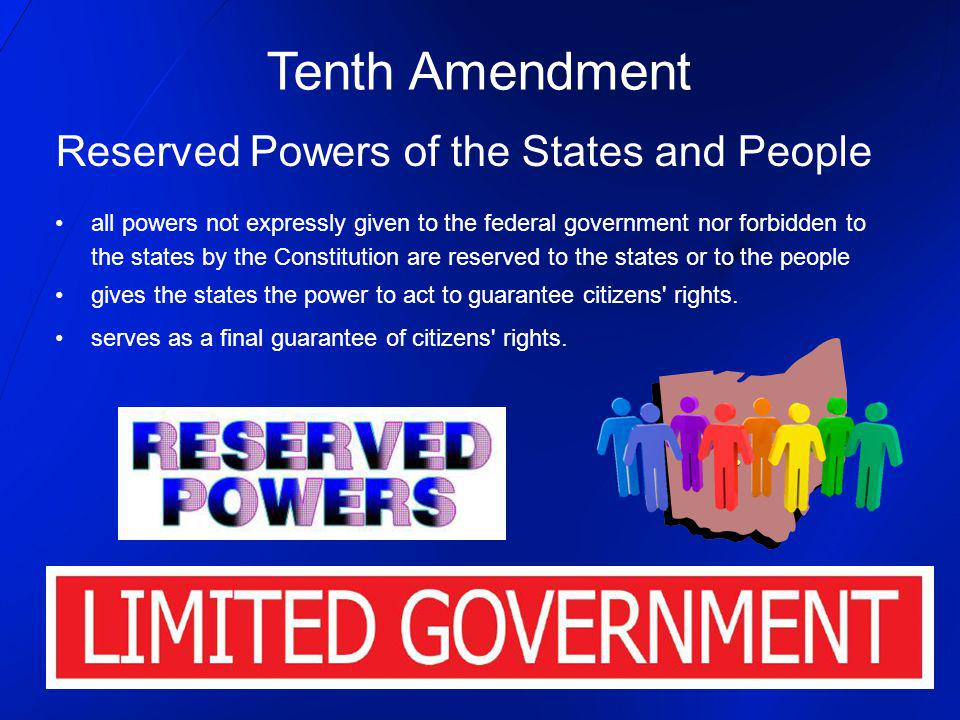 Tenth Amendment Reserved Powers of the States and People