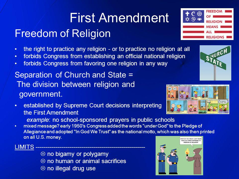 First Amendment Freedom of Religion Separation of Church and State =