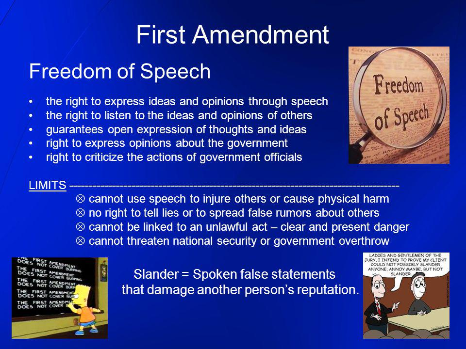 First Amendment Freedom of Speech Slander = Spoken false statements