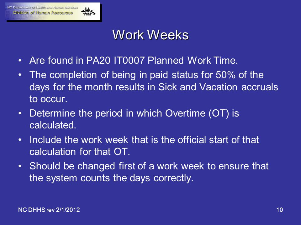 Work Weeks Are found in PA20 IT0007 Planned Work Time.