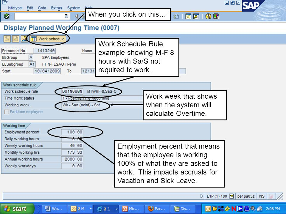 Work week that shows when the system will calculate Overtime.