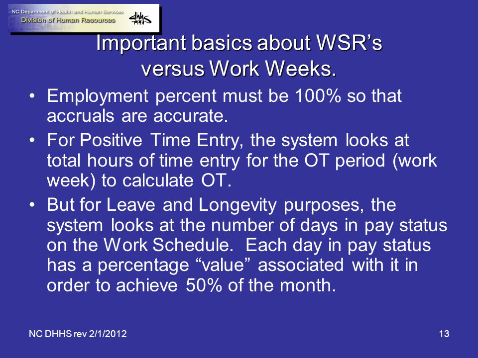 Important basics about WSR's versus Work Weeks.