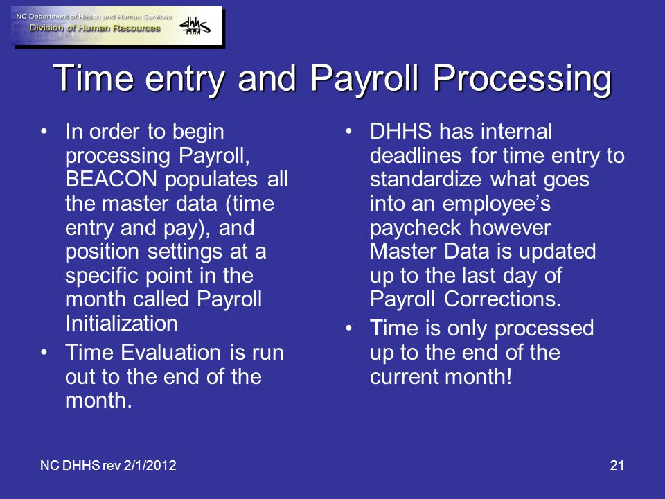 Time entry and Payroll Processing
