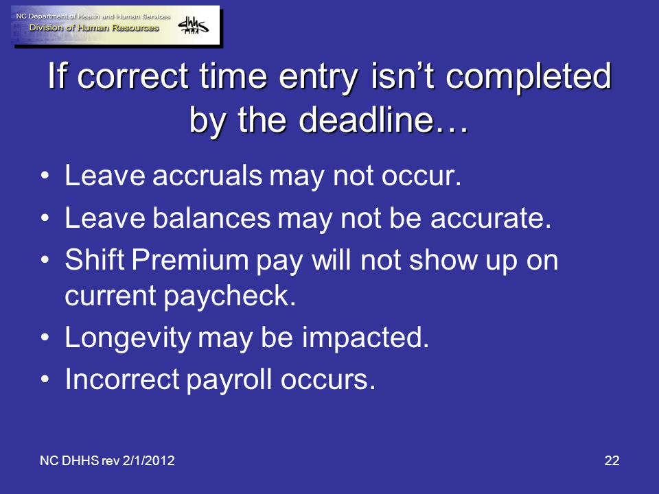 If correct time entry isn't completed by the deadline…