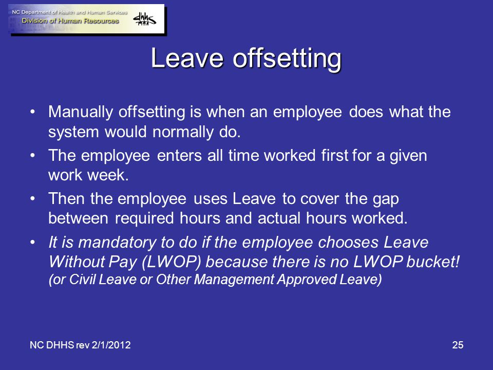 Leave offsetting Manually offsetting is when an employee does what the system would normally do.