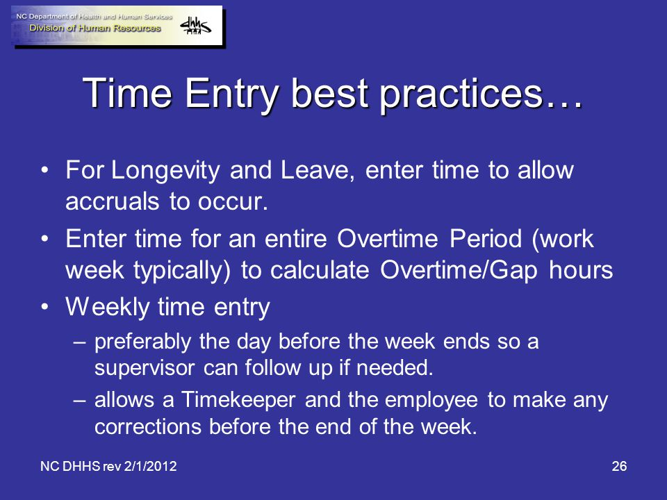 Time Entry best practices…