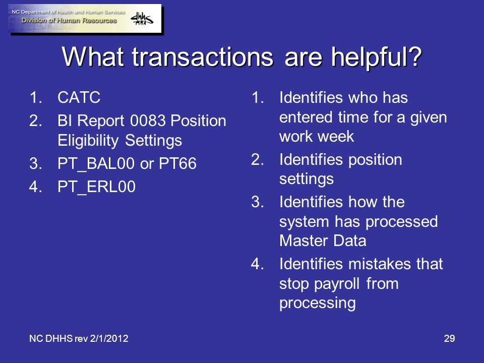 What transactions are helpful