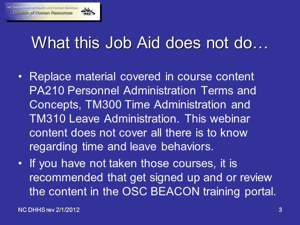 What this Job Aid does not do…