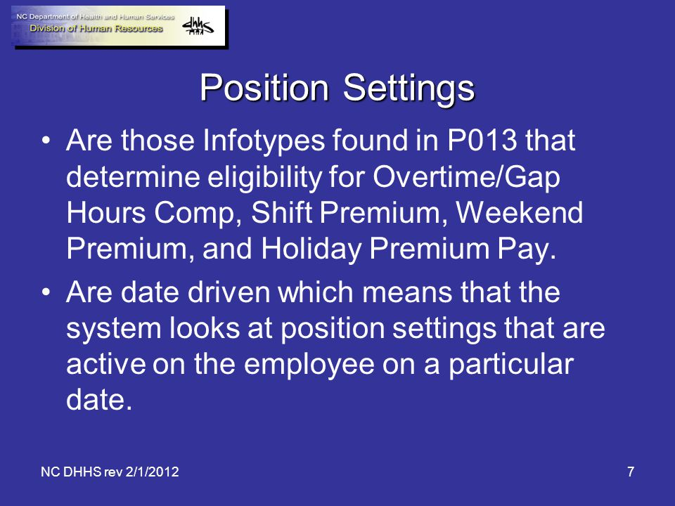 Position Settings