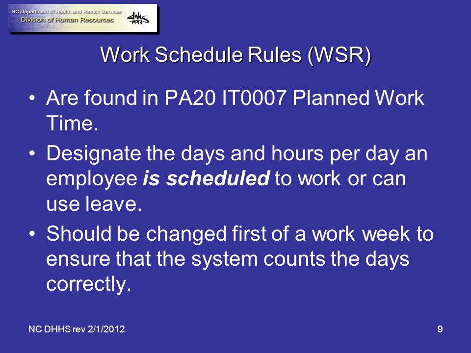 Work Schedule Rules (WSR)