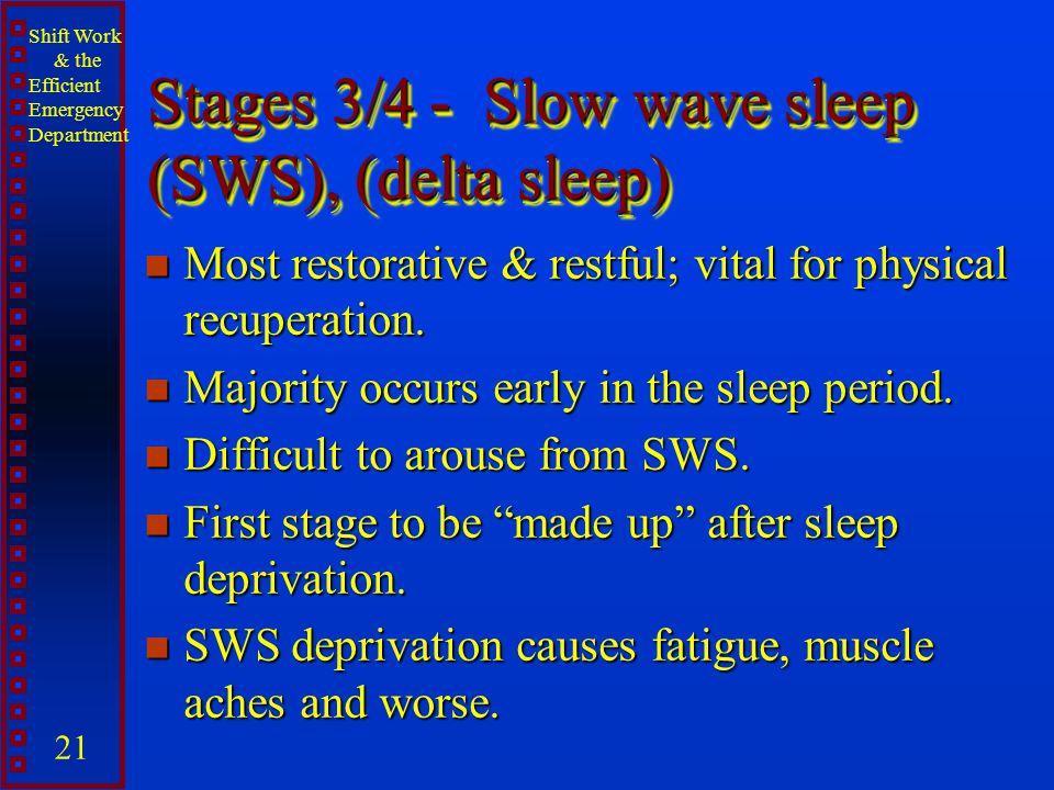 Stages 3/4 - Slow wave sleep (SWS), (delta sleep)
