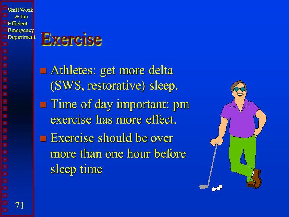 Exercise Athletes: get more delta (SWS, restorative) sleep.