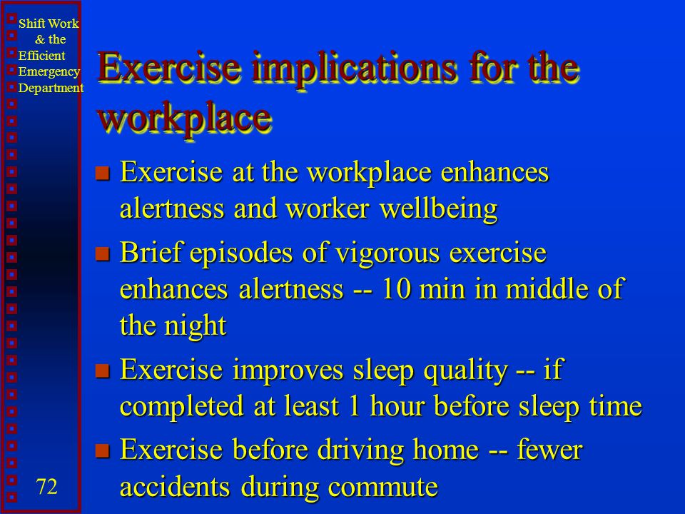 Exercise implications for the workplace