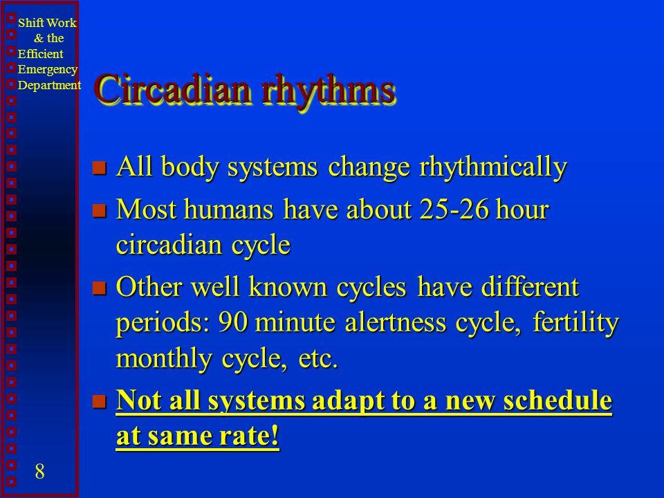 Circadian rhythms All body systems change rhythmically