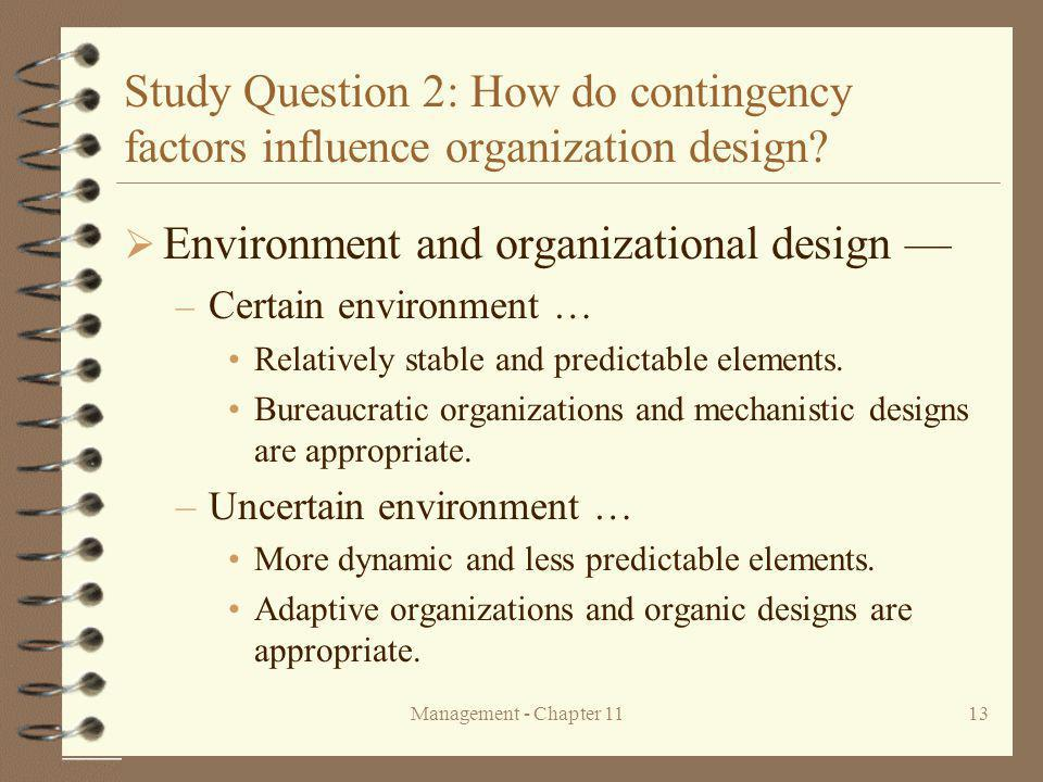 Environment and organizational design —