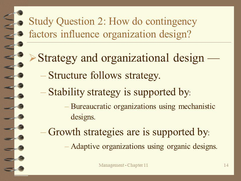 Strategy and organizational design —