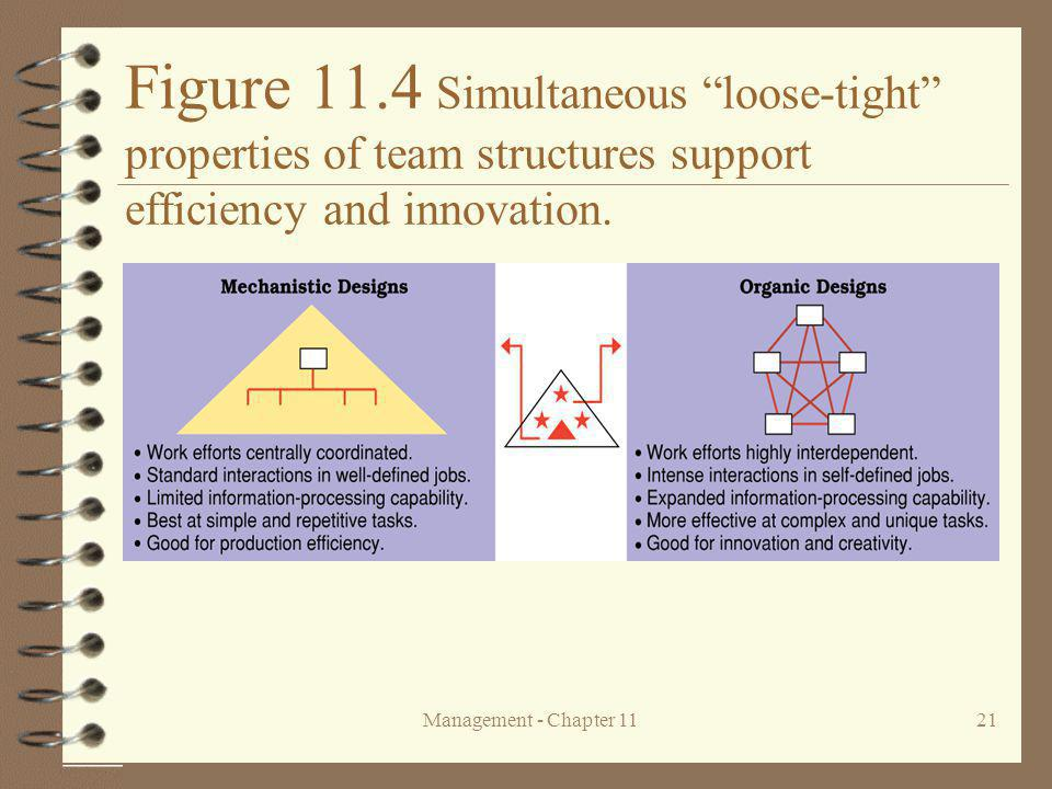 Figure 11.4 Simultaneous loose-tight properties of team structures support efficiency and innovation.