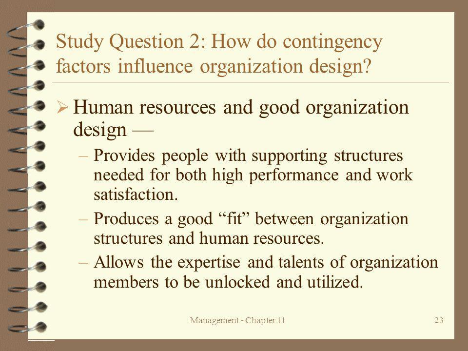 Human resources and good organization design —