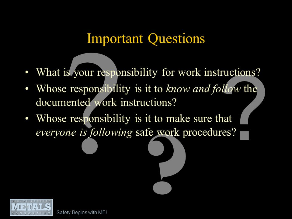 Safety Begins with ME - Module 2: Embedding Safety into Work Processes