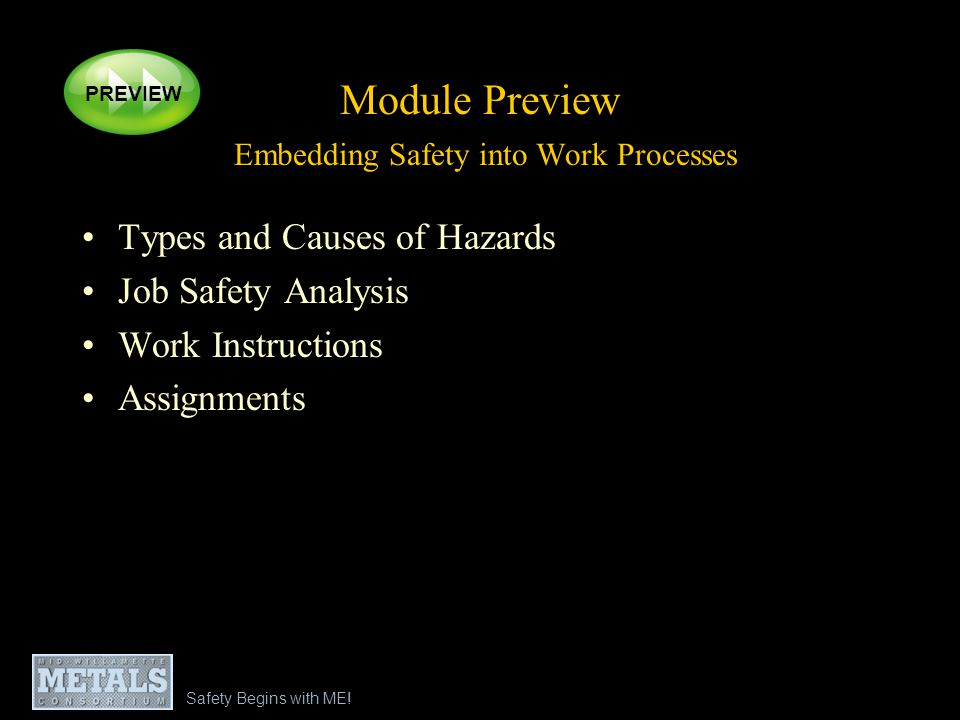 Module Preview Embedding Safety into Work Processes