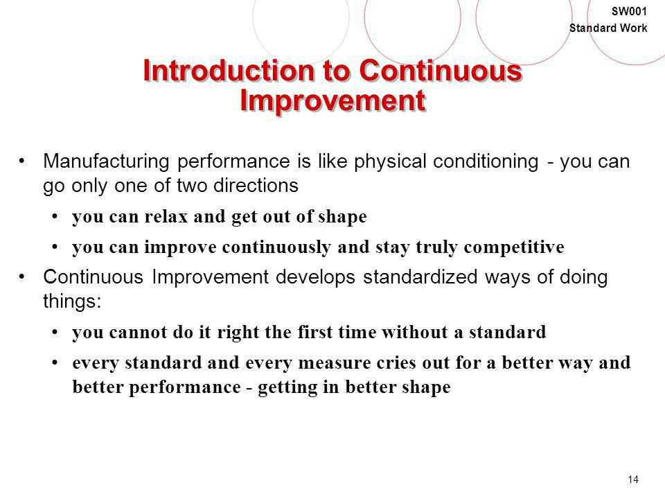 Introduction to Continuous Improvement