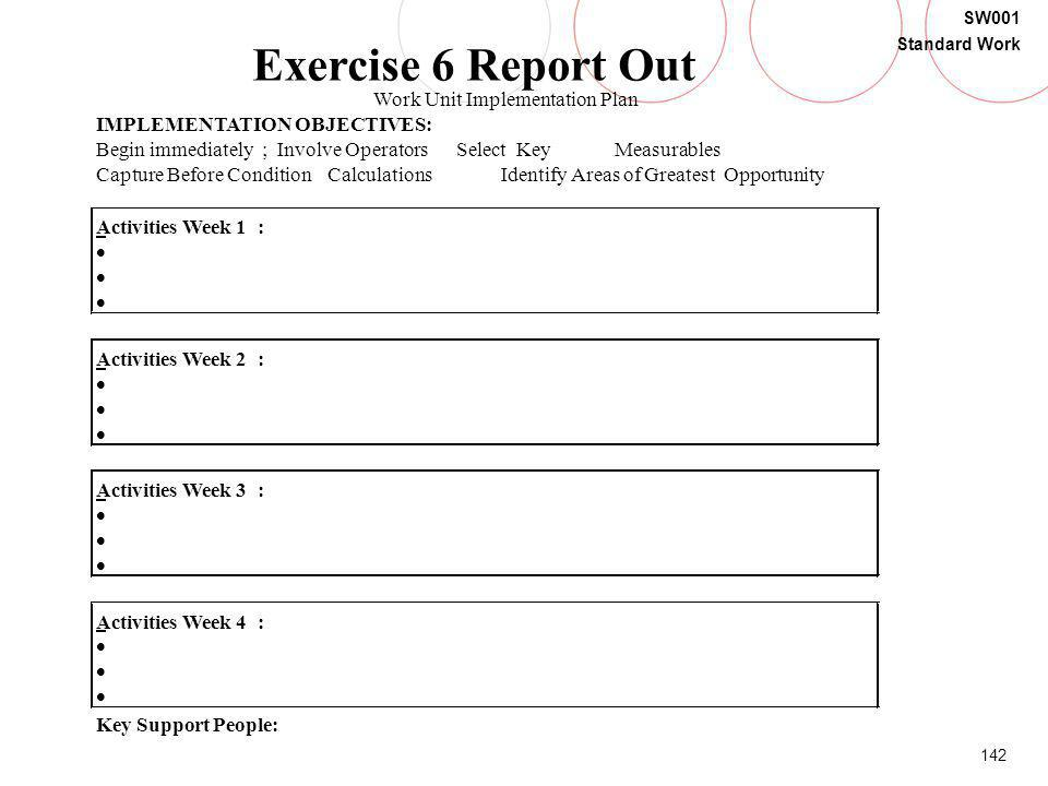 Exercise 6 Report Out Work Unit Implementation Plan