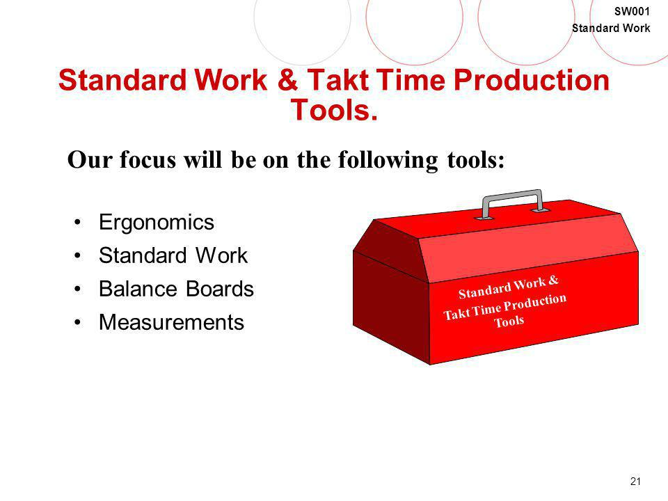 Standard Work & Takt Time Production Tools.
