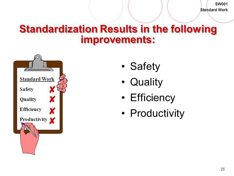Standardization Results in the following improvements: