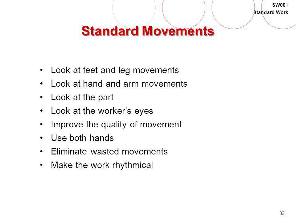 Standard Movements Look at feet and leg movements