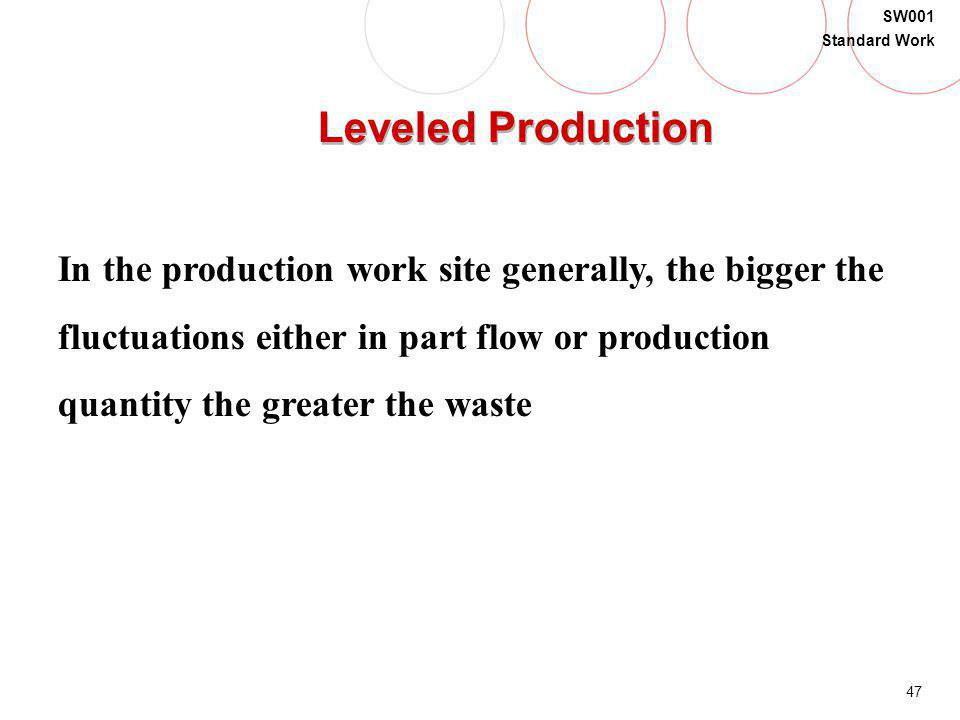 Leveled Production In the production work site generally, the bigger the. fluctuations either in part flow or production.