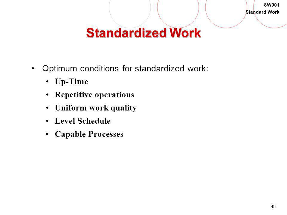Standardized Work Optimum conditions for standardized work: Up-Time