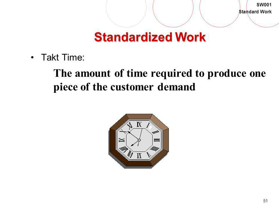 Standardized Work Takt Time: The amount of time required to produce one piece of the customer demand.
