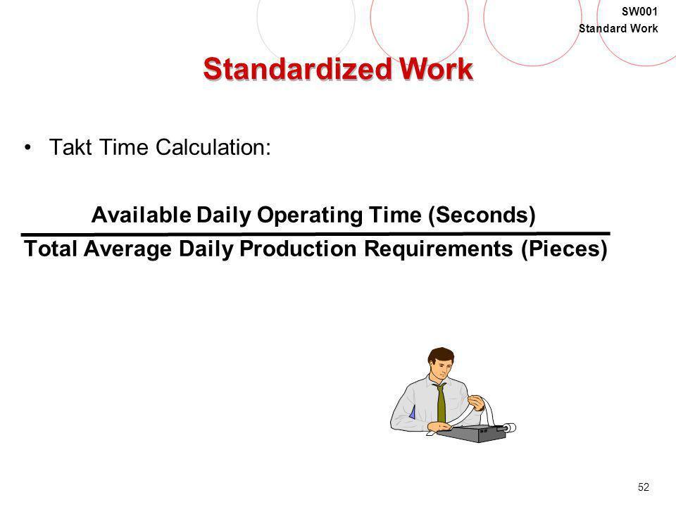 Standardized Work Takt Time Calculation: