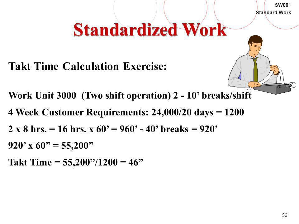 Standardized Work Takt Time Calculation Exercise: