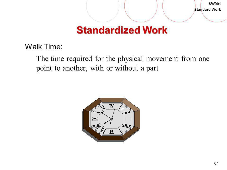 Standardized Work Walk Time: The time required for the physical movement from one point to another, with or without a part.