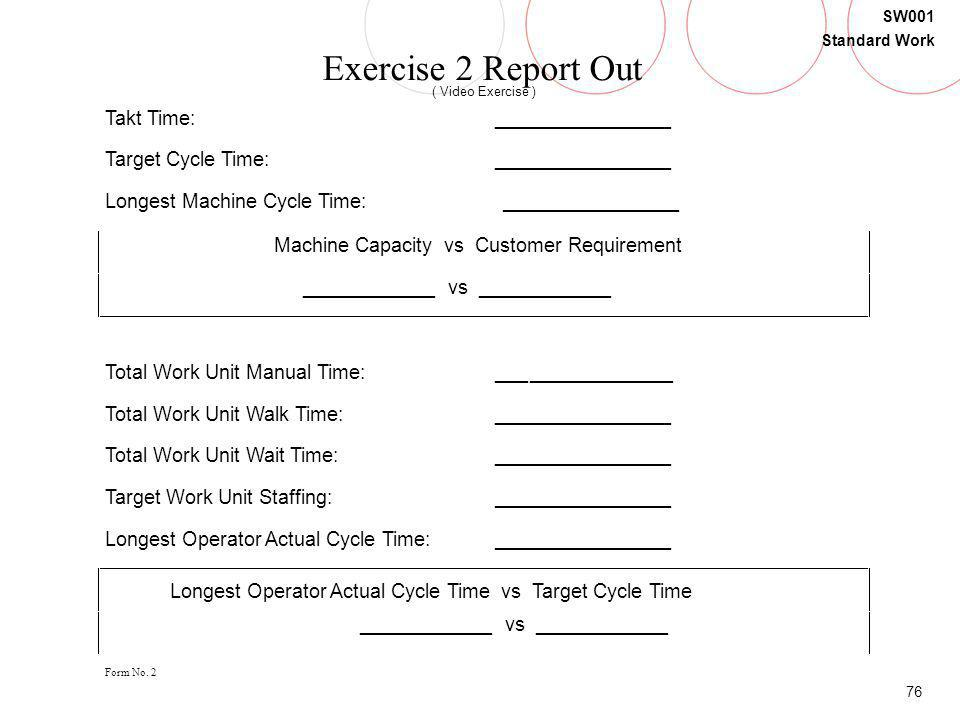 Exercise 2 Report Out Takt Time: ________________ Target Cycle Time: