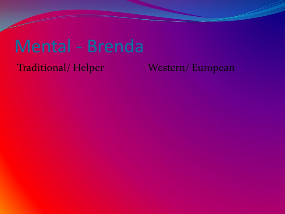 Mental - Brenda Traditional/ Helper Western/ European